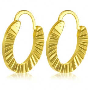 Fashion Alloy Gold Color Plated Diamond-Cut Hoop Clip Back Earrings (pair)