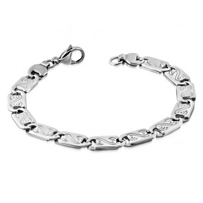 Stainless Steel Lobster Claw Clasp Closure Alphabet S Flat Oval Link Bracelet