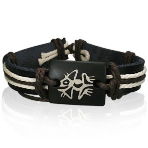 Fashion Rope Black Leather & Bone Frog Fertility Symbol WatchStyle Bracelet