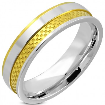 6mm | Stainless Steel 2­-tone Checker / Grid Comfort Fit Wedding Band Ring