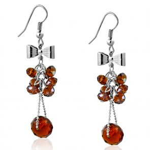 Fashion Alloy Bow Cluster Bead Long Drop Hook Earrings (pair)
