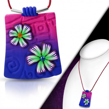 Fashion Fimo/ Polymer Clay Flower Tag Charm Necklace w/ Colorful CZ