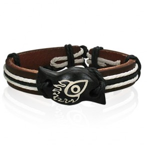 Fashion Rope Brown Leather & Bone Flame Evil Eye WatchStyle Bracelet