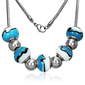 Stainless Steel Removable Tidal Wave Glass Bead Chain Necklace
