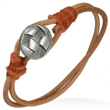 Fashion Double Wrap Brown Leather Toggle Bracelet