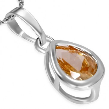 Fashion Alloy Teardrop Charm Necklace w/ Topaz CZ