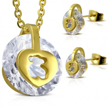 Gold Color Plated Stainless Steel Cut-out Tous Bear Round Circle Pendant & Pair of Stud Earrings w/ Clear CZ (SET)
