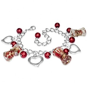 Fashion Alloy Red Pearl Bead Open Love Heart Glass Flower Pillar Charm Link Chain Bracelet