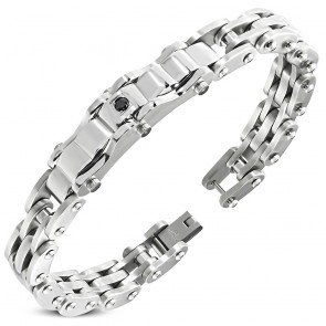 Stainless Steel Geometric Watch-Style Bracelet w/ Jet Black CZ