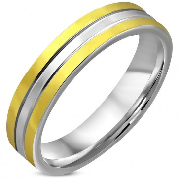 5mm   Stainless Steel 2-tone Grooved Striped Comfort Fit Wedding Flat Band Ring