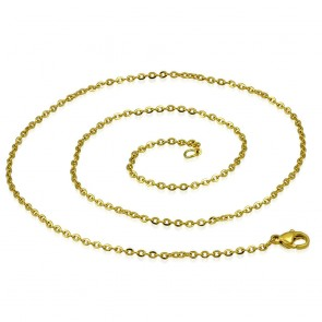 L45cm W2mm | Gold Color Plated Stainless Steel Lobster Claw Clasp Oval Link Chain
