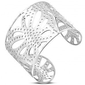 Stainless Steel Filigree Butterfly Wide Cuff Bangle