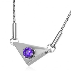 Stainless Steel Prong-Set Circle Triangle Charm Chain Necklace w/ Amethyst CZ