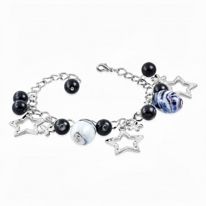 Fashion Alloy Black Glass Bead Flower Star Charm Link Chain Bracelet