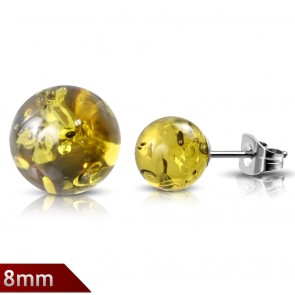 8mm | Stainless Steel Ball Synthetic Amber Stones Stud Earrings (pair)