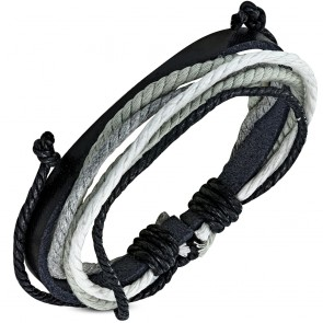 Fashion Multi-Strand Wrap Rope Adjustable Black Leather Bracelet