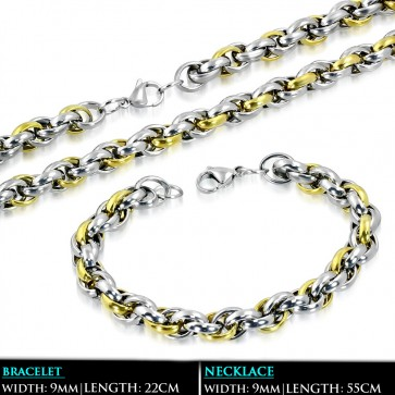 L55cm W9mm   Stainless Steel 2-tone Lobster Claw Clasp Elliptical Link Chain & Bracelet (SET)