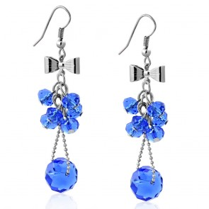 Fashion Alloy Bow Navy Blue Cluster Bead Long Drop Hook Earrings (pair)