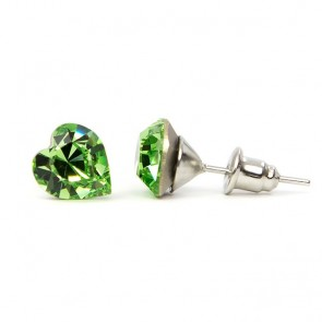 Hearth Stainless Steel Stud Earrings w/ Jazzy Green Swarovski® Elements Crystals