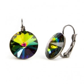 Moon Stainless Steel Hook Earrings w/ Vitrail Medium Swarovski® Elements Crystals