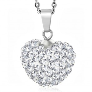Stainless Steel Love Heart Shamballa Charm Chain Necklace w/ Clear CZ