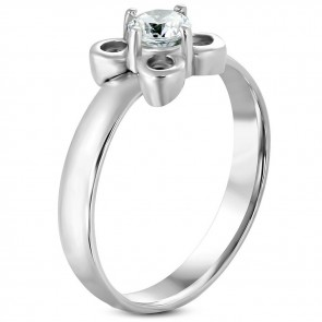 Stainless Steel Prong-­Set Flower Fancy Ring w/ Clear CZ ­