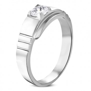 Stainless Steel Geometric Square Band Ring w/ Clear CZ