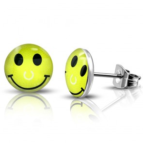 7mm | Stainless Steel 2-tone Happy Face Circle Stud Earrings (pair)