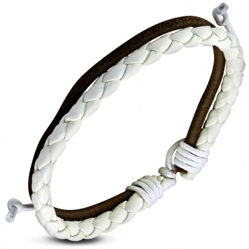 Fashion Double Multi Wrap Rope Braided Adjustable Brown & White Leather Bracelet