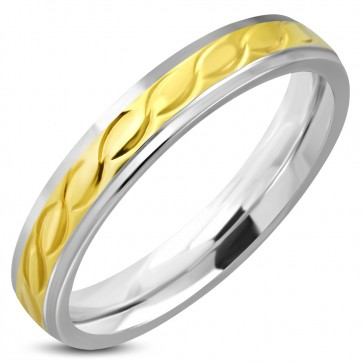 4mm   Stainless Steel 2-tone Celtic Twisted Comfort Fit Half-Round Band Ring
