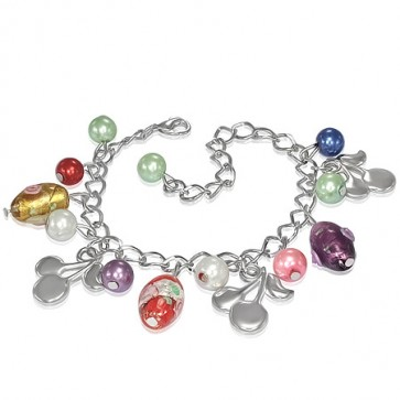 Fashion Alloy Colorful Pearl Bead Glass Rose Flower Oval Cherry Charm Link Chain Bracelet