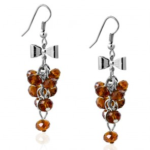 Fashion Alloy Bow Brown Cluster Bead Long Drop Hook Earrings (pair)
