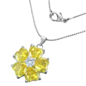 Fashion Alloy Crystal Flower Love Heart Charm Chain Necklace w/ Clear & Yellow CZ