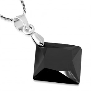 Fashion Alloy Crystal Square Charm Chain Necklace w/ Jet Black CZ