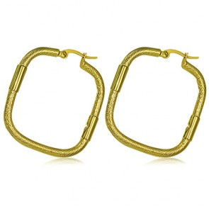 Fashion Alloy Gold Color Plated Fancy Square Hoop Clip Back Earrings (pair)