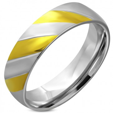 6mm   Stainless Steel 2-tone Diagonal Striped Half-Round Comfort Fit Band Ring