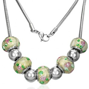 Stainless Steel Removable Glass Flower Bead Chain Necklace