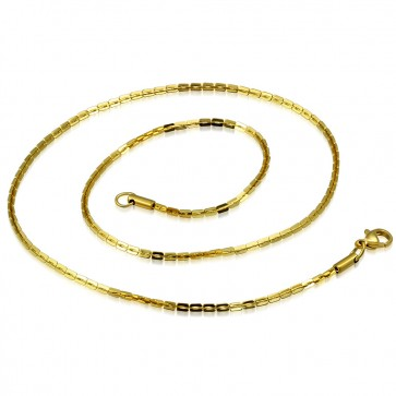 L-45cm W-2mm | Gold Color Plated Stainless Steel Lobster Claw Clasp Fancy Oval Link Chain