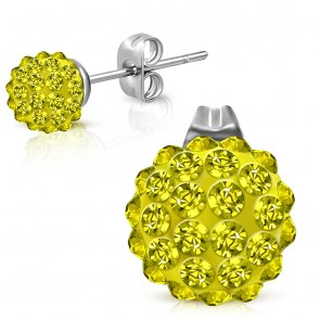 8mm | Stainless Steel Argil Disco Ball Shamballa Stud Earrings w/ Yellow CZ (pair)