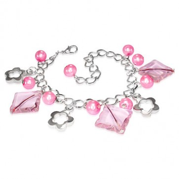 Fashion Alloy Pink Pearl Glass Bead Square Flower Star Charm Link Chain Bracelet