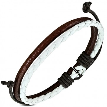 Fashion Double Braided Wrap Rope Adjustable White & Brown Leather Bracelet