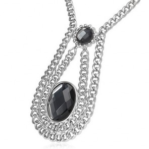 Fashion Alloy Vintage Crystal Circle Oval Charm Extender Chain Necklace w/ Faceted Jet Black CZ