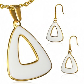 Gold Color Plated Stainless Steel White Enameled Triangle Pendant & Pair of Long Drop Hook Earrings (SET)