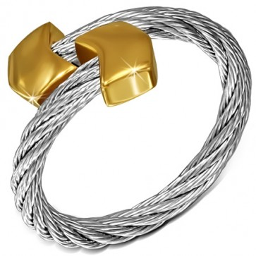 Stainless Steel 2-tone Celtic Twisted Cable Wire Torc Cuff Ring w/ Alloy End Cap 
