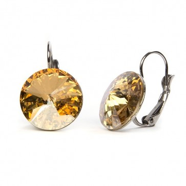 Moon Stainless Steel Hook Earrings w/ Golden Shadow Swarovski® Elements Crystals