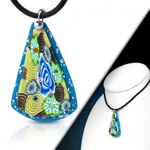 Fashion Fimo/ Polymer Clay Rose Flower Long Triangle Charm Necklace w/ Colorful CZ