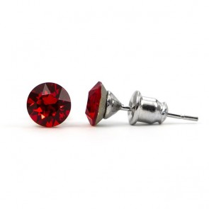 Round Stainless Steel Stud Earrings w/ Red Swarovski® Elements Crystals