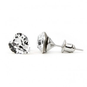 Hearth Stainless Steel Stud Earrings w/ Jazzy Crystal Swarovski® Elements Crystals