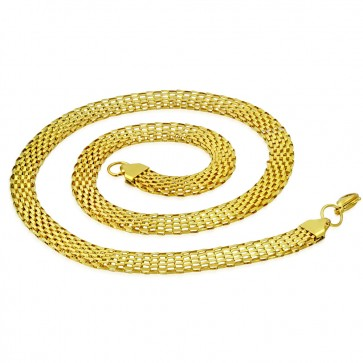 L55cm W7mm | Gold Color Plated Stainless Steel Lobster Claw Clasp Flat Mesh Link Chain