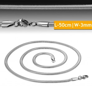 L-50cm W-3mm | Stainless Steel Lobster Claw Clasp Flat Snake Link Chain